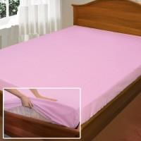 Розовая простынь на резинке, поплин