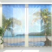 Фототюль Солнечные пальмы на берегу