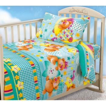 КПБ в детскую кроватку Звездная ночь зеленый