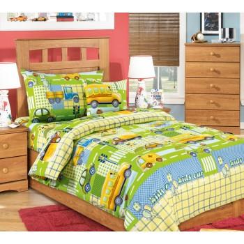 КПБ в детскую кроватку Машинки (зеленый)